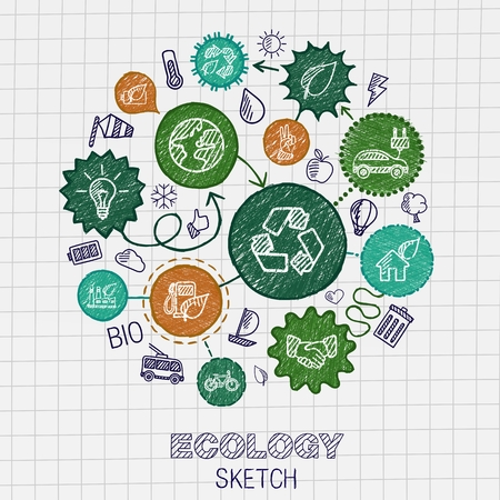 Ecology hand drawing integrated icons. Vector doodle connected pictogram set: sketch interaction illustration on paper: eco friendly energy environment green recycle bio and global concepts