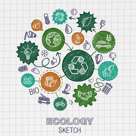 lijntekening: Ecologie hand tekenen geïntegreerd pictogrammen. Vector doodle verbonden pictogram set: schets interactie illustratie op papier: eco vriendelijke energie groen recycle bio en globale concepten