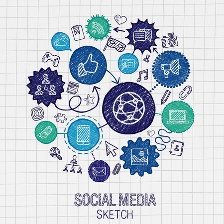 Social media hand drawing hatch icons. Vector doodle integrated pictogram set. Sketch infographic illustration on paper: internet digital market media connect technology global connect concept