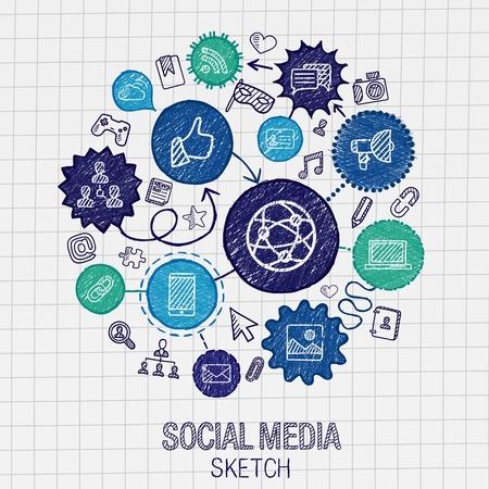 comunicazione: Disegno social mano multimediale icone di tratteggio. Vector set Doodle integrato set pittogramma. Sketch illustrazione infografica su carta: internet media mercato digitale collegano la tecnologia concetto di connessione globale Vettoriali