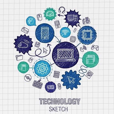 Technologie hand tekening geïntegreerd schets iconen. Vector doodle interactieve pictogram set. Connected infographic illustratie op papier: digitaal internet netwerk communiceren media wereldwijde concepten Vector Illustratie