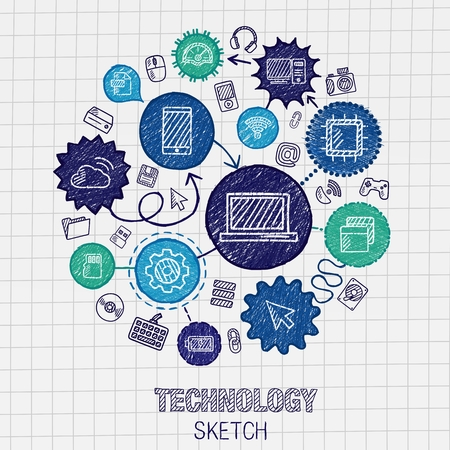 Technology hand drawing integrated sketch icons. Vector doodle interactive pictogram set. Connected infographic illustration on paper: digital internet network communicate media global concepts Иллюстрация