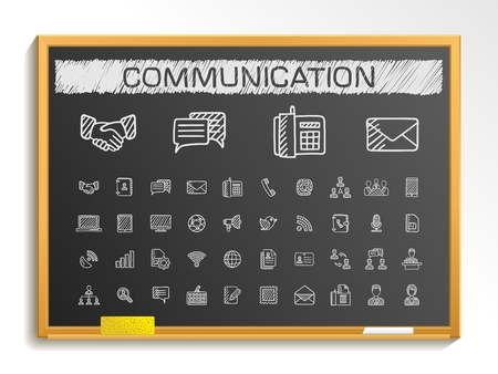 Communication hand drawing line icons. Vector doodle pictogram set: chalk sketch sign illustration on blackboard with hatch symbols: business social internet mail chat meeting speech hand. 일러스트