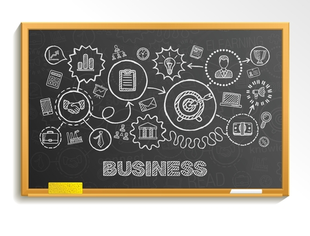 blackboard background: Business hand draw integrated icons set. Vector sketch infographic illustration. Line connected doodle pictograms on school board: strategy mission service analytics marketing interactive concept