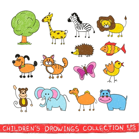 pencil drawing: Funny zoo in child hand drawing image. Cartoon illustration of cute animals vector doodles set: bird zebra lion giraffe elephant monkey butterfly cat dog fish camel hedgehog hippopotamus. Illustration