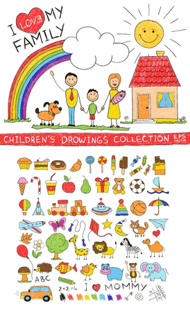 drawing: Child hand drawing illustration of happy family with kids near home dog sun rainbow. Cartoon sketch image of children pencil painting vector doodles set: sweets lollipop food baby toys animals. Illustration