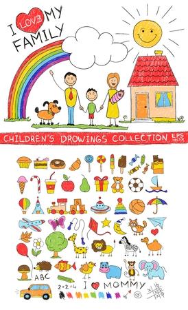 zeichnen: Kinderhandzeichnung Illustration der glückliche Familie mit Kindern in der Nähe von zu Hause Hund Sonne Regenbogen. Cartoon Skizze Bild der Kinder Bleistiftmalerei Vektor-Doodles gesetzt: Süßigkeiten Lutscher Essen Baby-Spielzeug Tiere.