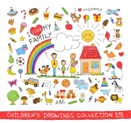 draw: Child hand drawing illustration of happy family with kids near home dog sun rainbow. Cartoon sketch image of children pencil painting vector doodles set: sweets lollipop food baby toys animals. Illustration