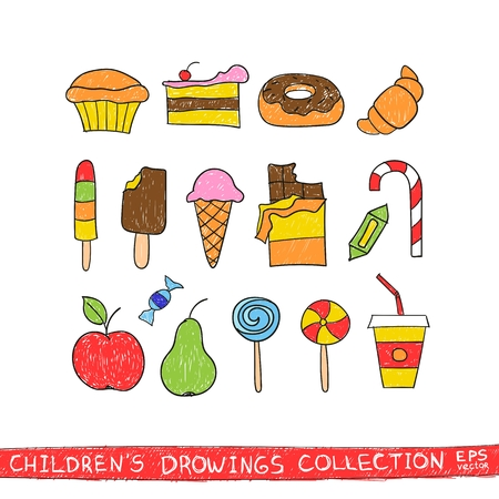 confection: Kids hand drawing tasty food. Cartoon sketch illustration of child vector doodles set: muffin cake pie donut croissant confection sweet candy lollipop ice cream chocolate apple pear drink
