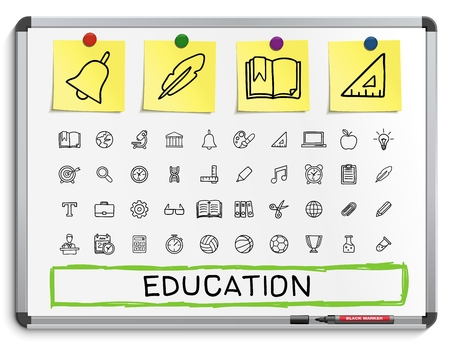 hospital sign: Education hand drawing line icons. Vector doodle pictogram set: sketch sign illustration on white marker board with paper stickers: hospital emergency doctor nurse pharmacy medicine health care. Illustration