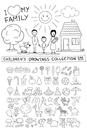 happy family at home: Child hand drawing illustration of happy family with kids near home dog sun. Line graphic sketch image of children pencil painting in vector doodles set: sweets lollipop food baby toys animals. Illustration