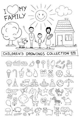 perro familia: Ilustración dibujo a mano infantil de la familia feliz con los niños cerca de sol perro a casa. Línea imagen Bosquejo gráfico de la pintura los niños lápiz garabatos conjunto de vectores: dulces piruletas animales alimentos para bebés juguetes.