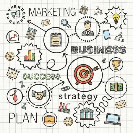 비즈니스 연결 손으로 그리는 아이콘. 벡터 스케치 전략, 서비스, 분석, 연구, 디지털 마케팅, 상호 작용 개념에 낙서 그림을 통합. 색상 해치 무늬를 설