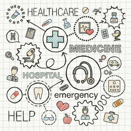 healthcare and medicine: Medical hand draw integrated color icons set. Vector sketch infographic illustration with line connected doodle hatch pictograms on paper: healthcare, medicine, science, emergency, pharmacy concepts Illustration