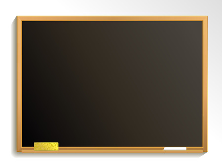 Empty blackboard with chalk and sponge. Chalkboard background. Vector illustration