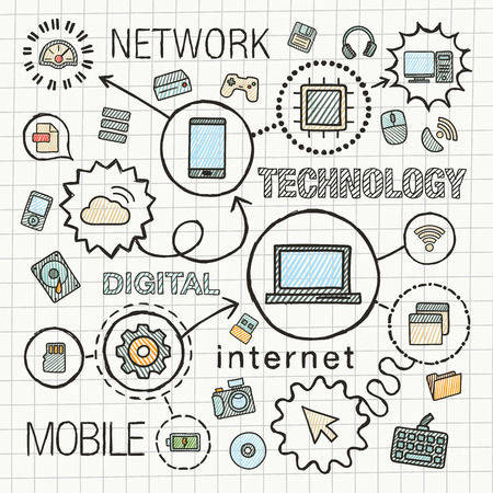 Technology hand draw integrated color icons set. Vector sketch infographic illustration. Line connected doodle hatch pictograms on paper: computer, digital, network, internet, media, mobile concepts