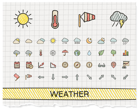 Weather hand drawing line icons. Vector doodle pictogram set: color pen sketch sign illustration on paper with hatch symbols: storm, rain, cold, temperature, parasol, umbrella, climate, night. Vectores