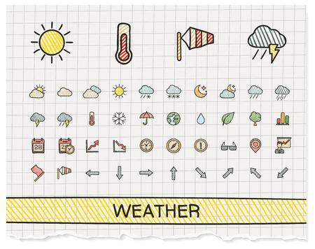Weer handtekening lijn iconen. Vector doodle pictogram set: kleur pen schets teken illustratie op papier met doorgeefluik symbolen: onweer, regen, koude, temperatuur, parasol, paraplu, klimaat, 's nachts.