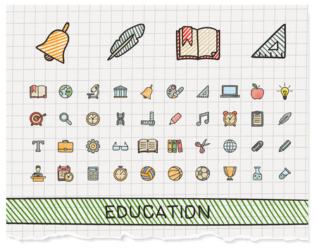 Education hand drawing line icons. Vector doodle pictogram set: color pen sketch sign illustration on paper with hatch symbols: school, elearning, knowledge, learn, subjects, teaching, college.