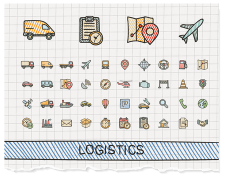 Logistic hand drawing line icons. Vector doodle pictogram set: color pen sketch sign illustration on paper with hatch symbols: ship, truck, mobile, transport, shipping.
