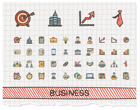 Business hand drawing line icons. Vector doodle pictogram set: color pen sketch sign illustration on paper with hatch symbol: finance, money, presentation, strategy, marketing, analytics, infographic