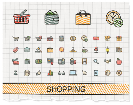 Shopping hand drawing line icons. Vector doodle pictogram set: color pen sketch sign illustration on paper with hatch symbols: credit, purchase, service, card, calculator, internet, bank, terminal Vectores
