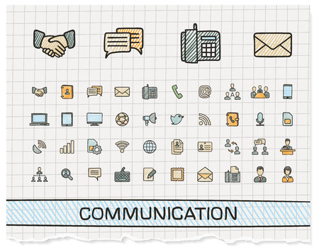 Communication hand drawing line icons. Vector doodle pictogram set: color pen sketch sign illustration on paper with hatch symbols: business, social, internet, mail, chat, meeting, speech, hand.
