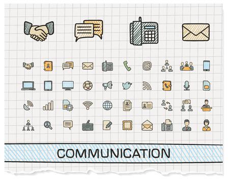 d'icônes de lignes de dessin à main de la communication. Vecteur doodle pictogramme ensemble: plume de couleur croquis signe illustration sur le papier avec des symboles de hachures: affaires, social, Internet, mail, chat, séance, la parole, la main. Vecteurs