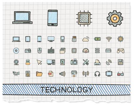 Technology hand drawing line icons. Vector doodle pictogram set: color pen sketch sign illustration on paper with hatch symbols: network, digital, internet, computer, laptop, social media, cloud