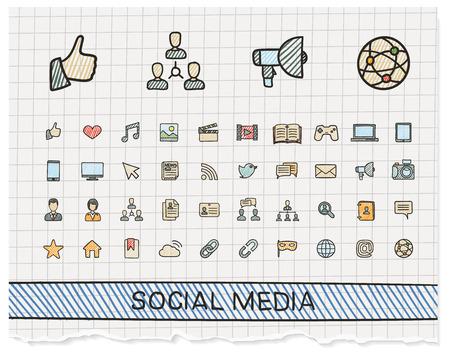 Iconos de línea de dibujo a mano los medios de comunicación social. Vector pictograma Doodle conjunto: Color bosquejo de la pluma signo ilustración en papel con símbolos de sombreado: poste, como, blog, foro, compartir en línea, perfil, relación.