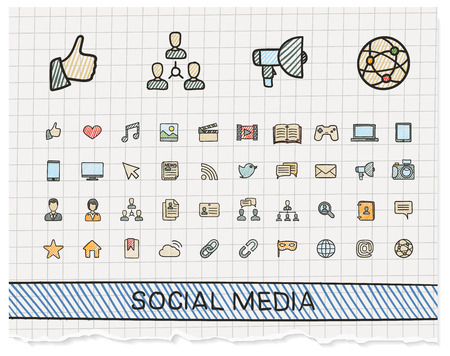 media icons: Social media hand drawing line icons. Vector doodle pictogram set: color pen sketch sign illustration on paper with hatch symbols: post, like, blog, forum, share, online, profile, relationship.