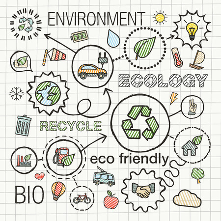 Ecology infographic hand draw icons. Vector sketch integrated doodle illustration for environmental, eco friendly, bio, energy, recycle, planet, green concepts. Color hatch connected pictograms set.