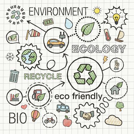 Ecologie main infographie icônes de tirage. Vector illustration croquis de griffonnage intégrée pour l'environnement, écologique, bio, l'énergie, recycler, planète, concepts verts. Hachures de couleur pictogrammes connectés réglés. Banque d'images - 43343805