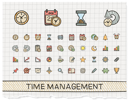 Time management hand drawing line icons. Vector doodle pictogram set: color pen sketch sign illustration on paper with hatch symbols: schedule, alarm, event, calendar, graphic, plan, date, bell.