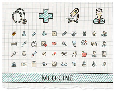 medical drawing: Medical hand drawing line icons. Vector doodle pictogram set: color pen sketch sign illustration on paper with hatch symbols: hospital, emergency, doctor, nurse, pharmacy, medicine, health care. Illustration
