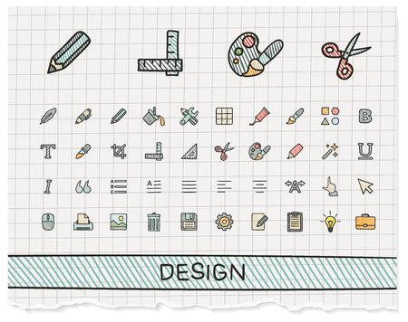 lijntekening: Design tools handtekening lijn pictogrammen. Vector doodle pictogram set: kleur pen schets teken illustratie op papier met doorgeefluik symbolen: palet, magische penseel, potlood, pipet, emmer, klem, rooster, vet.