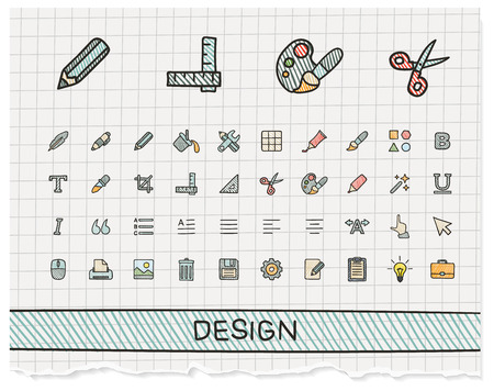 Design tools hand drawing line icons. Vector doodle pictogram set: color pen sketch sign illustration on paper with hatch symbols: palette, magic brush, pencil, pipette, bucket, clip, grid, bold.