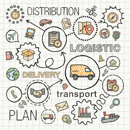 Logistic hand draw integrated color icons set. Vector sketch infographic illustration with line connected doodle hatch pictograms on paper: distribution, shipping, transport, services concepts Vettoriali
