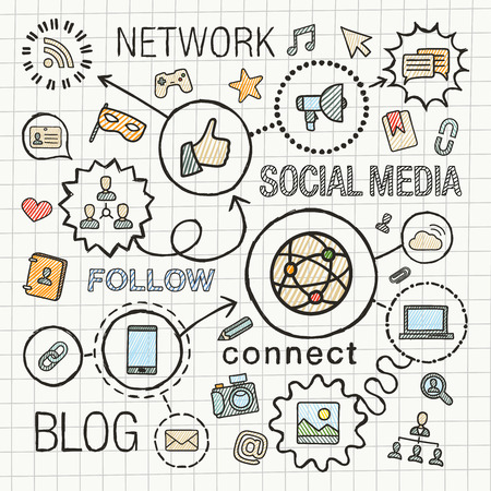 network and media: Social media hand draw integrated color icons set. sketch infographic illustration. Line connected doodle hatch pictograms on paper: marketing, network, share, technology, community concepts Illustration