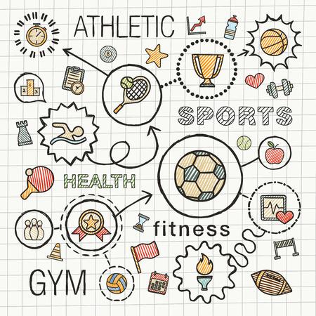 dessin: Main Sport dessiner des icônes de couleur intégrés fixés. croquis, illustrations infographiques avec ligne connectée pictogrammes doodle de hachures sur papier de l'école: la concurrence, boule, jeu, tennis, signe tasse, concepts de jeux