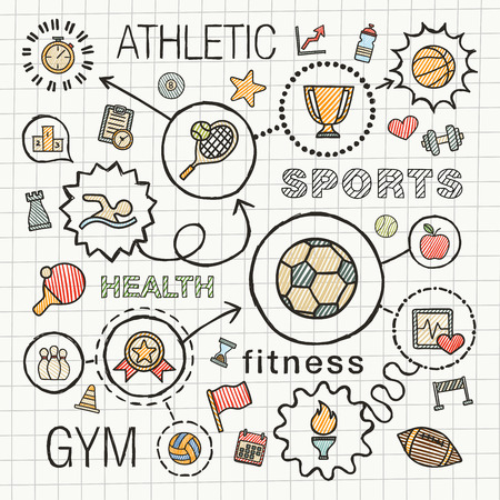 game equipment: Sport hand draw integrated color icons set. sketch infographic illustration with line connected doodle hatch pictograms on school paper: competition, ball, play, tennis, cup sign, game concepts Illustration