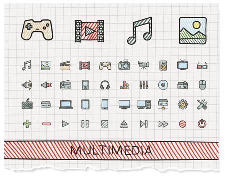 Media hand drawing line icons. doodle pictogram set: color pen sketch sign illustration on paper with hatch symbols: buttons, camera, tv, laptop, joystick, movie, device, tablet