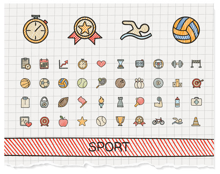 Sport hand drawing line icons. doodle pictogram set: color pen sketch sign illustration on paper with hatch symbols: baseball, football, tennis, bicycle, pool, soccer, rugby, fitness.