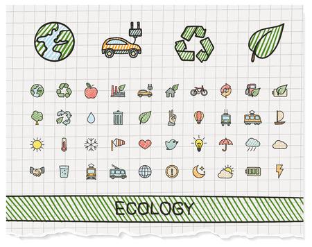 raccolta differenziata: Ecologia mano linea disegno icone. Doodle pittogramma set: colore della penna schizzo illustrazione segno su carta con i simboli di tratteggio: energia, eco-friendly, ambiente, albero, verde, riciclare, bio, pulito