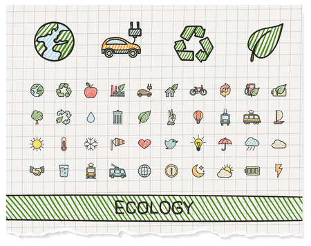 Ecology hand drawing line icons. doodle pictogram set: color pen sketch sign illustration on paper with hatch symbols: energy, eco friendly, environment, tree, green, recycle, bio, clean Ilustração