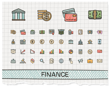 hand drawing: Finance hand drawing line icons.  doodle pictogram set: color pen sketch sign illustration on paper with hatch symbols: business, statistics, currency, money, payment, internet, register. Illustration