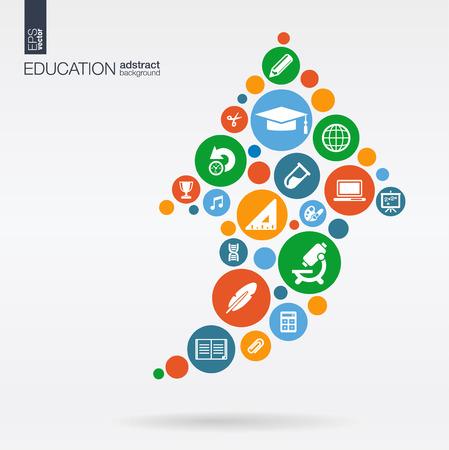 색상 원, 플랫 위쪽 화살표 모양의 아이콘 : 교육, 학교, 과학, 지식, e 러닝 개념. 스톡 콘텐츠 - 43347922