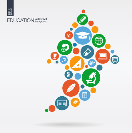 Color circles, flat icons in a arrow up shape: education, school, science, knowledge, elearning concepts.  Çizim