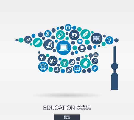 graduacion de universidad: Círculos de colores, iconos planos en forma de sombrero de graduación: educación, escuela, ciencia, conocimiento, conceptos de aprendizaje e. Vectores