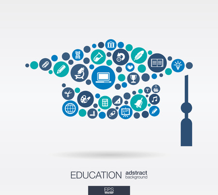 cercles de couleur, icônes plats dans une forme obtention du diplôme de chapeau: éducation, école, la science, les connaissances, les e concepts d'apprentissage. Vecteurs
